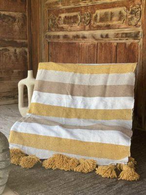 couverture coton tricolore pompons