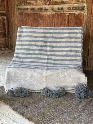 couverture coton bicolore à pompons
